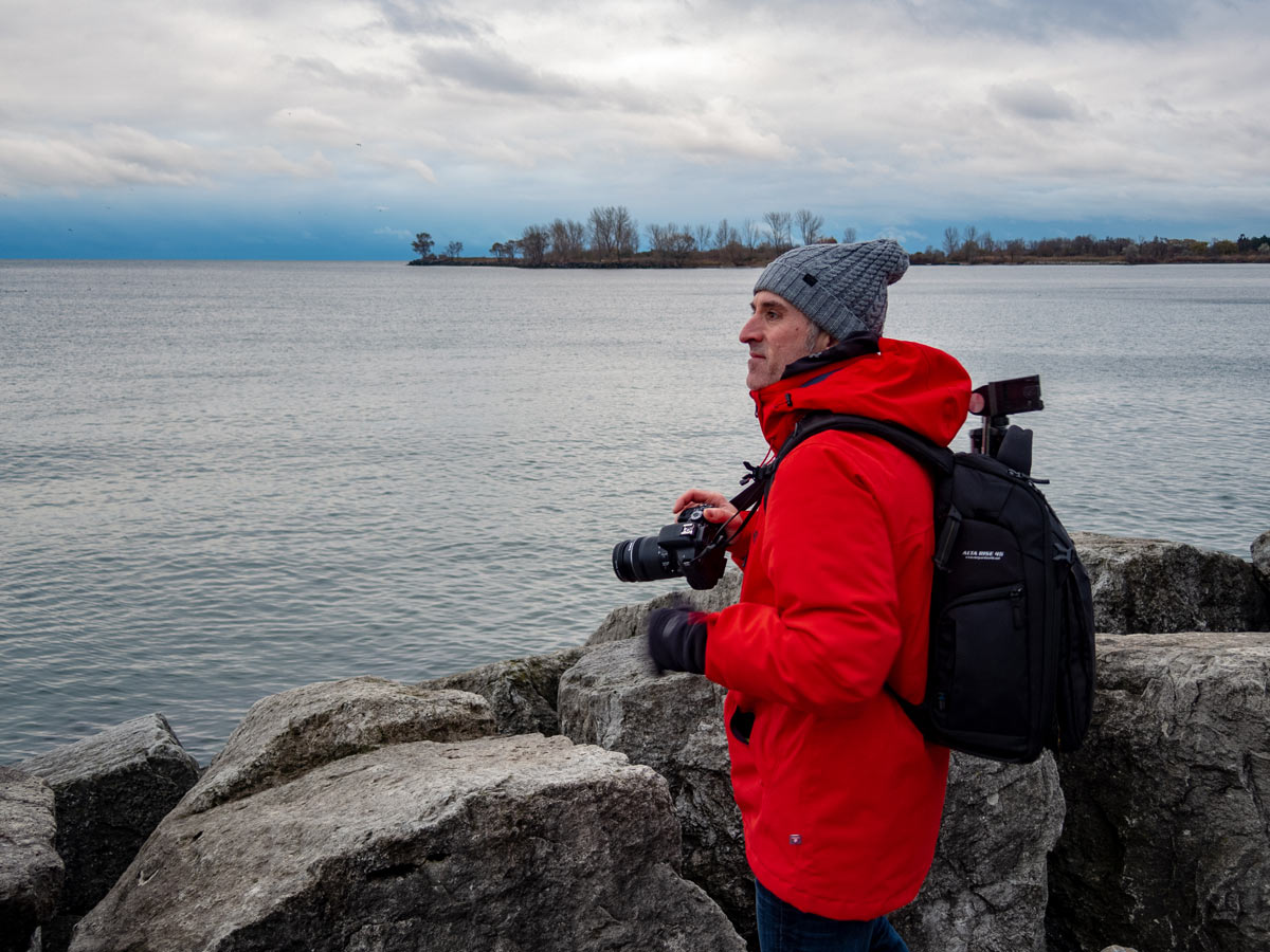 The author Scott Harrald shooting at the Humber Bay in Toronto. Photo by @mikesimpson.ms